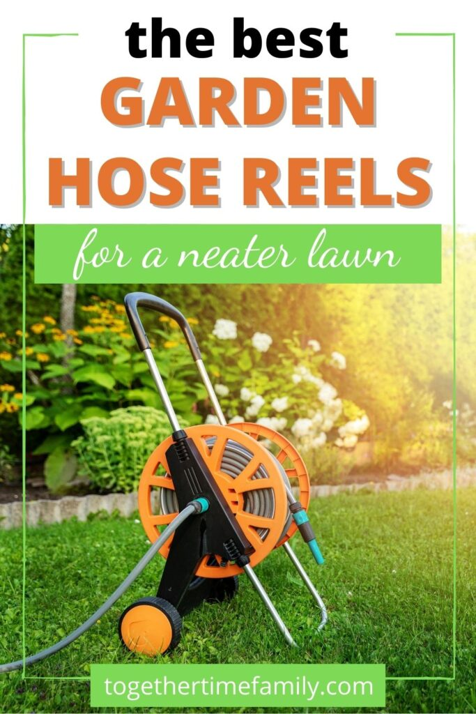 "Text ""the best garden hose reels for a neater lawn"" above a photo of an orange hose cart in a yard. There are flowers visible behind the cart and golden glowing sunlight on the right."