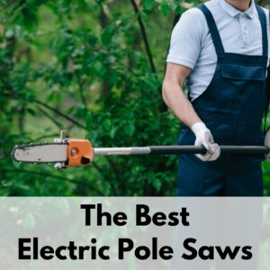 "text overlay ""the best electric pole saws"" is on the bottom 1/3 of a picture showing a person holding a pole saw. The front half of the saw is visible along with one gloved hand and torso wearing dark blue overals"