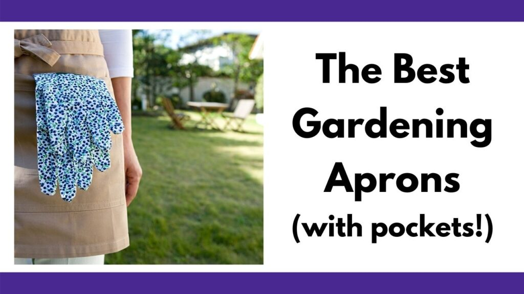 "text on the right ""The Best Gardening Aprons (with pockets!)"" On the left is a closeup of a woman wearing a tan apron with a pair of blue and green gardening gloves in the front pocket. A grassy yard is visible behind her. Only part of her torso and one arm from the elbow down are visible."