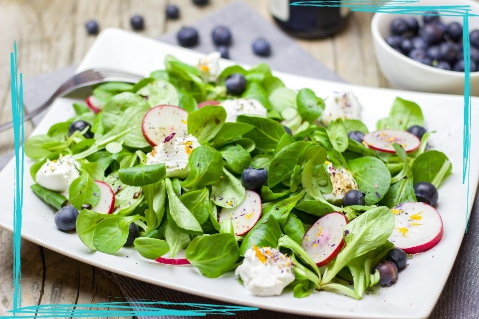 A close up of a salad on a white rectangular plate. The salad features baby spinach greens, sliced radishes, blueberries, and small pieces of soft white cheese