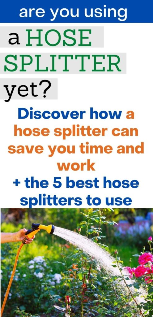 """text """"are you using a hose splitter yet? Discover how a hose splitter can save you time and work + the best 5 hose splitters to use"""" Below is a picture of a hand holding a hose watering rose bushes"""