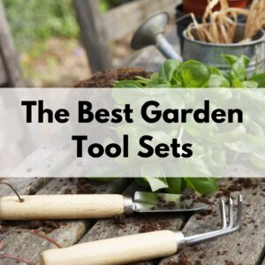 "text overlay ""the best garden tool sets"" over a picture of a small trowel and hand cultivator on a wood table in front of a basil plant and metal watering can"