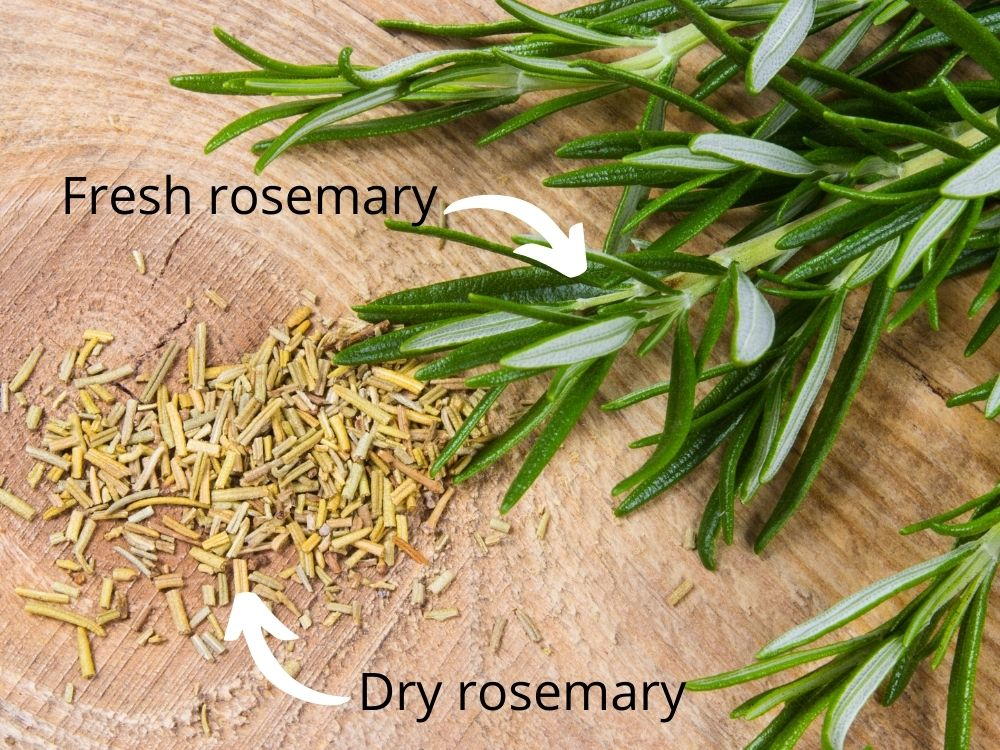 "A picture of fresh and dry rosemary on a cut piece of wood. There are labels ""fresh rosemary"" and ""dry rosemary"" with white arrows pointing and respective piles of rosemary leaves"