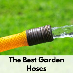 "text overlay ""the best garden hoses"" below a picture of an orange hose with water coming out of the end onto green grass"