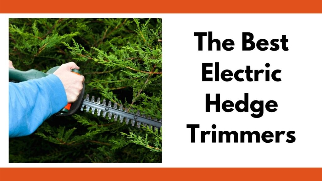"""A close up of a person with a blue long sleeved shirt using an electric hedge trimmer on an evergreen. To the right is the text """"The best electric hedge trimmers"""""""