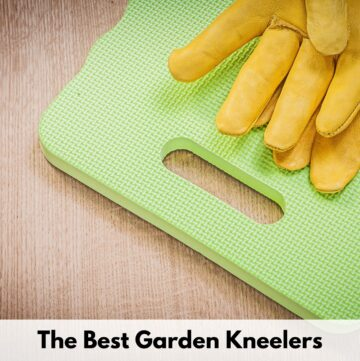 """text overlay """"the best garden kneelers"""" over an image of a green kneeling mat and a pair of yellow garden gloves"""