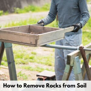 """text overlay """"how to remove rocks from soil"""" over an image of a person wearing gloves sifting soil through a large, wood soil sifter resting on a pair of sawhorses"""