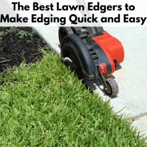 Text reads 'Best electric lawn edgers to make edging quick and easy' in a white transparent text box above the photo. The photo is of an electric edger with two wheels, a red cover, and a black shroud. Edger is on a sidewalk edging a grassy patch.