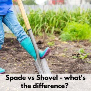 """text overlay """"spade vs shovel - what's the difference?"""" on the bottom of an image with a person wearing bluejeans and a blue rain boot stepping on a shovel"""