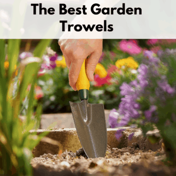 "Text reads ""The best garden trowels."" Text box is at the top of the photo on a white transparent text box. The photo below the text is of a person digging a garden trowel into the ground among a flower garden."