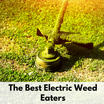 "Text reads, ""The best electric weed eaters"" on a white background text box. Above is a phot of a weed eater trimmer the last bit of long grass on a yard. The weed eater trimmer head and shroud are covered in grass clippings."
