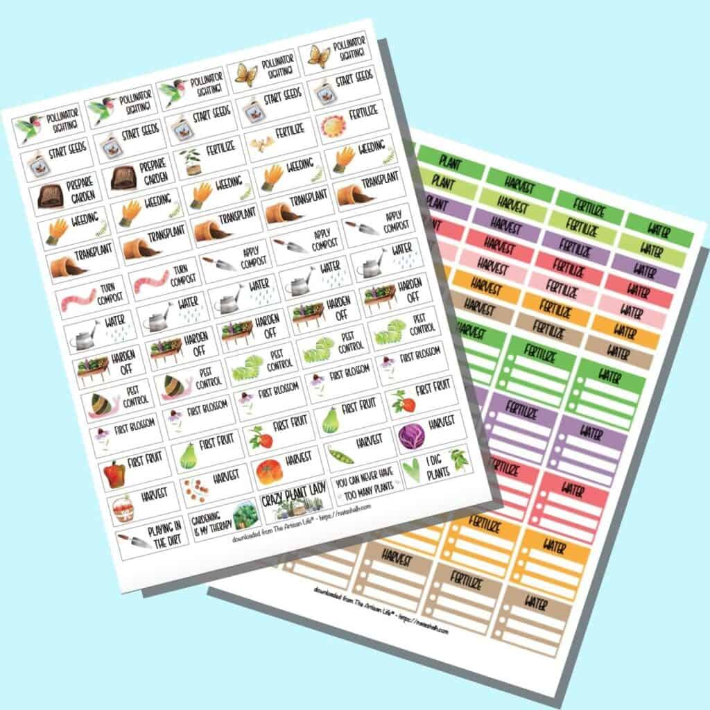 A preview of two pages of garden planner sticker for Happy Planner Classic.