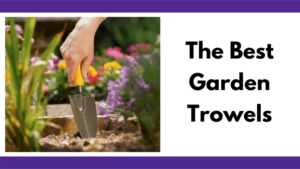 """Text reads """"the best garden trowels."""" To the left is a photo of a person digging a garden trowel, with a yellow handle, into the ground of a raised bed garden. The surrounding plants are flower plants. The photo and text box are surrounded by two horizontal purple bars."""