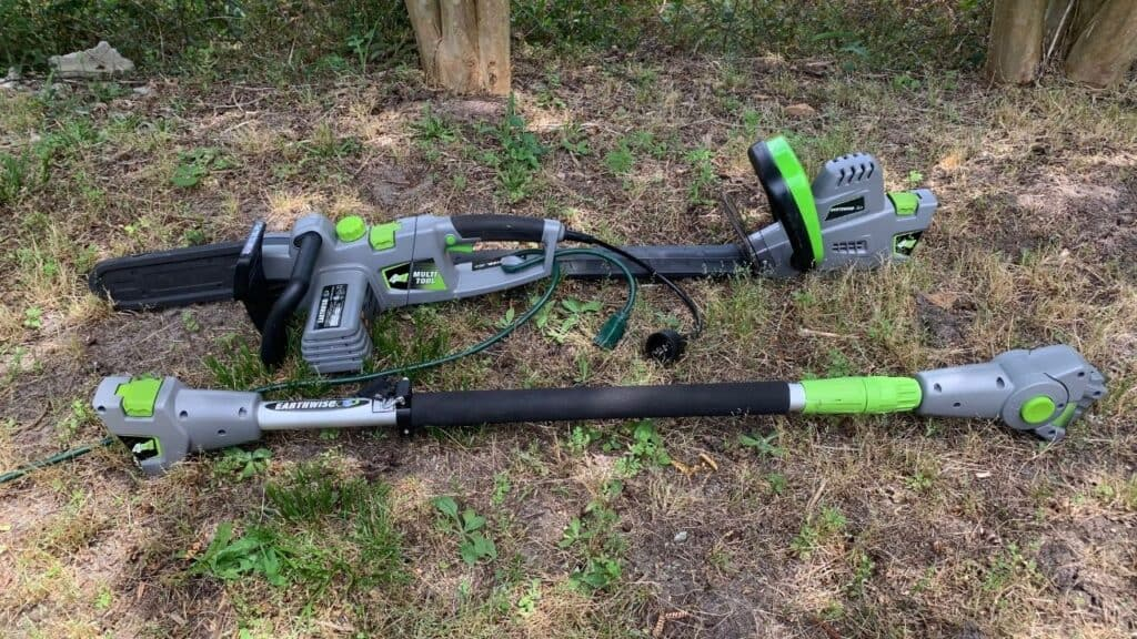 Photo is of the earthwise 4 in 1 multi tool. Displayed are the electric chainsaw, hedge trimmer, and the pole attachment.