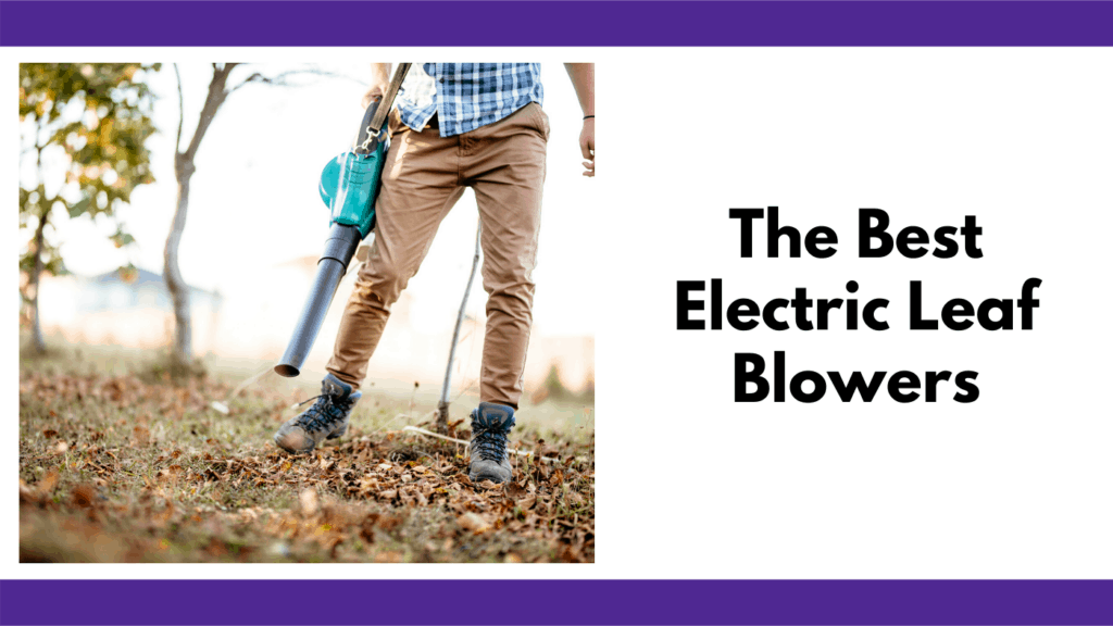 "Text reads, ""The best electric leaf blowers"" in a text box to the right of a photo. The photo is of a man in brown jeans and a plaid shirt with work boots holding a blue corded electric leaf blower. The man is blowing leaves out of his yard. The background is a blurred yard."